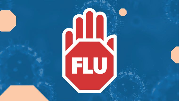 Graphic image of a hand with the word flu, on a blue background.